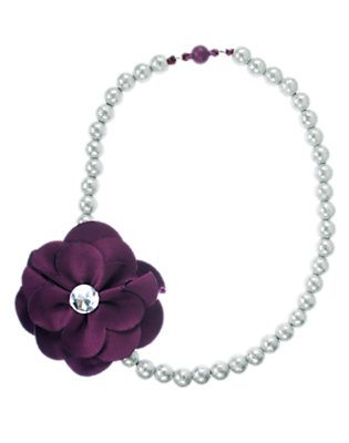 Girls Princess Purple Gem Flower Bead Necklace by Gymboree
