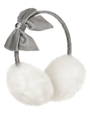 Winter Ivory Gem Bow Faux Fur Earmuff by Gymboree