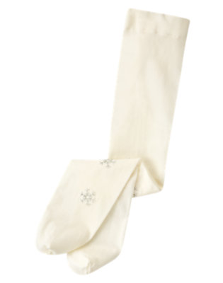 Toddler Girls Winter Ivory Glitter Snowflake Tight by Gymboree