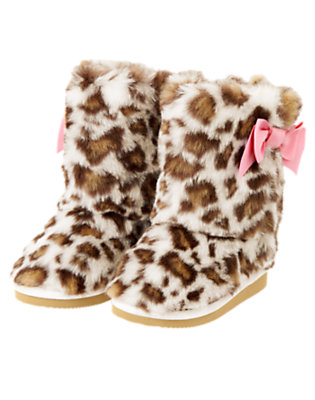 Toddler Girls Ivory Leopard Bow Leopard Faux Fur Boot by Gymboree