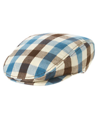 Boys Slate Blue Check Plaid Flannel Cap by Gymboree