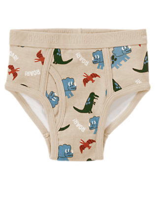 Oatmeal Heather Roar Dinosaur Brief by Gymboree