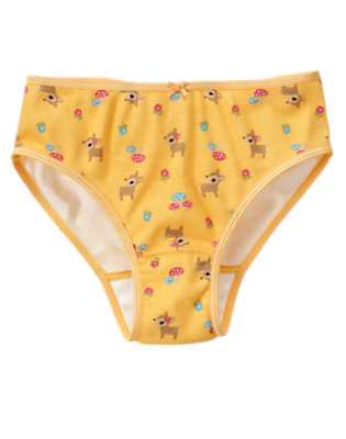Toddler Girls Amber Yellow Deer Mushroom Panty by Gymboree