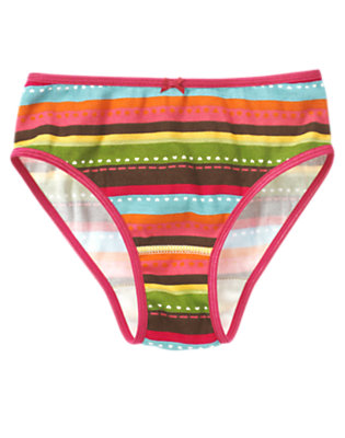Pink Stripe Heart Stripe Panty by Gymboree