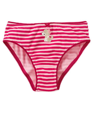 Girls Bright Fuchsia Stripe Poodle Stripe Panty by Gymboree