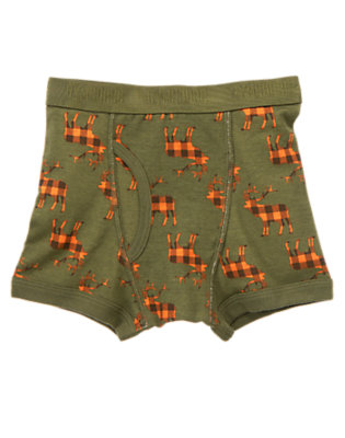 Toddler Boys Dark Olive Green Elk Boxer Brief by Gymboree