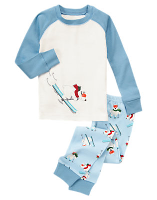 Boys Cheery Blue Skiing Polar Bear Two-Piece Gymmies® by Gymboree