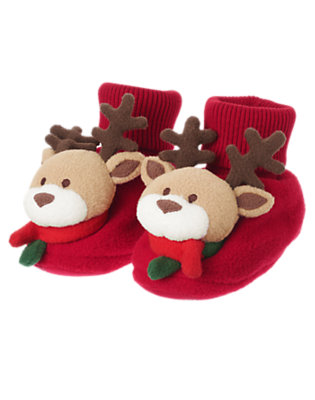 Toddler Girls Holiday Red Reindeer Slipper by Gymboree