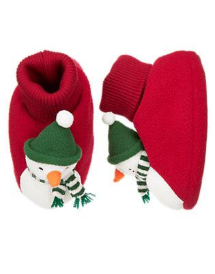 Girls Festive Red Snowman Slipper by Gymboree