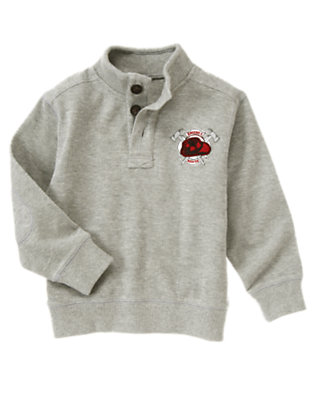 Boys Heather Grey Fire Rescue Patch Pullover by Gymboree
