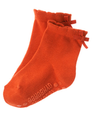 Toddler Girls Poppy Orange Bow Sock by Gymboree