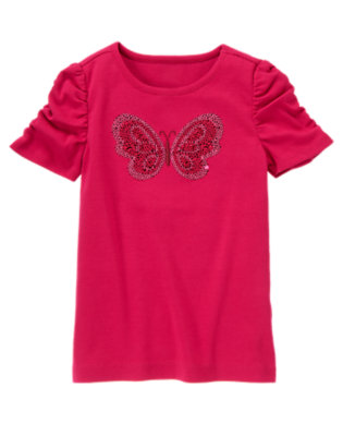 Raspberry Pink Sequin Butterfly Tee by Gymboree