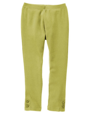 Girls Olive Green Butterfly Button Cuff Legging by Gymboree