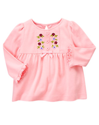Sweet Pink Embroidered Flower Top by Gymboree