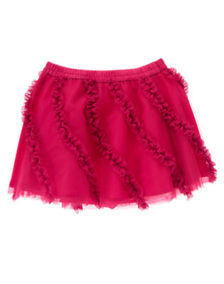 Toddler Girls Raspberry Pink Ruffle Tulle Skirt by Gymboree
