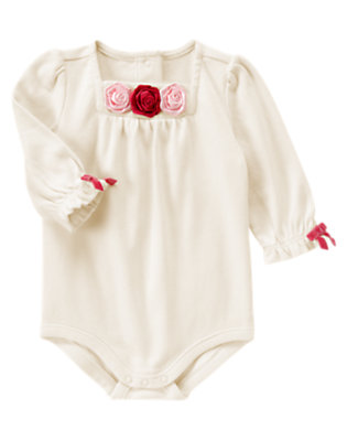 Baby Antique Ivory Satin Rosette Bodysuit by Gymboree