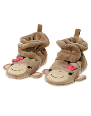 Baby Light Monkey Brown Girl Monkey Bootie by Gymboree