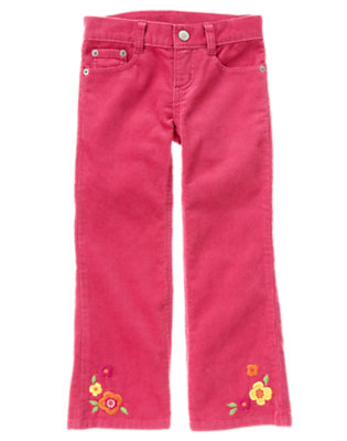 Girls Autumn Pink Flower Corduroy Pant by Gymboree
