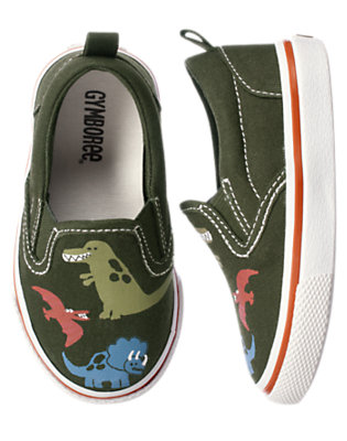 Toddler Boys Green Dinosaur Dinosaur Slip-On Sneaker by Gymboree