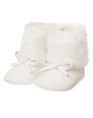 Ivory Faux Suede Crib Bootie by Gymboree
