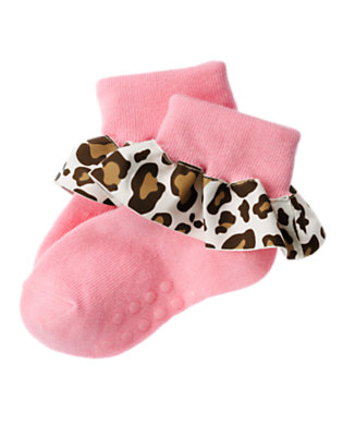 Toddler Girls Poodle Pink Leopard Ruffle Sock by Gymboree