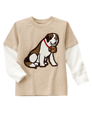 Tan Heather Rescue Dog Double Sleeve Tee by Gymboree