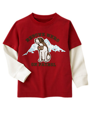 Alpine Red Rescue Hero On Patrol Double Sleeve Tee by Gymboree