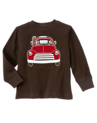 Dark Brown Vintage Truck Thermal Tee by Gymboree