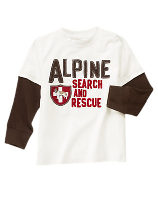 Ivory Alpine Search and Rescue Double Sleeve Tee by Gymboree
