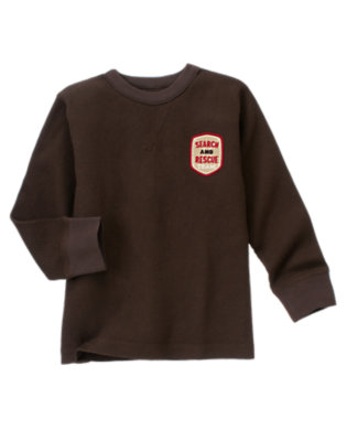 Boys Dark Brown Search and Rescue Team Patch Thermal Tee by Gymboree