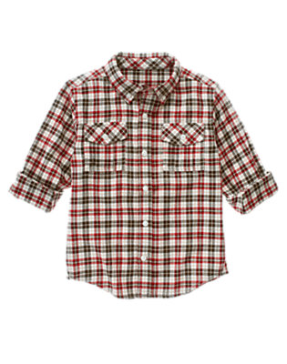 Tan Heather Check Plaid Flannel Shirt by Gymboree