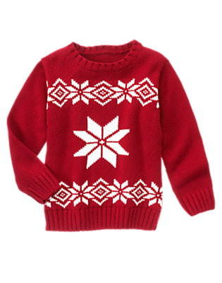 Alpine Red Snowflake Fair Isle Sweater by Gymboree