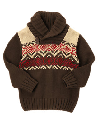 Dark Brown Fair Isle Shawl Collar Sweater by Gymboree