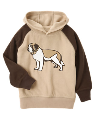 Boys Tan Rescue Dog Microfleece Hoodie by Gymboree