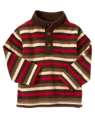 Tan Heather Stripe Stripe Microfleece Half Snap Pullover by Gymboree