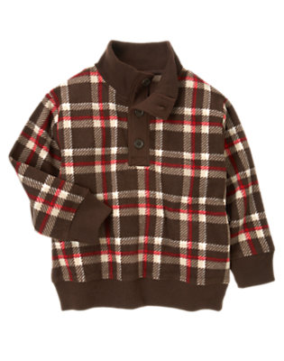 Dark Brown Plaid Plaid Microfleece Pullover by Gymboree