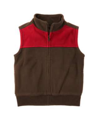 Boys Dark Brown Pieced Microfleece Zip Vest by Gymboree