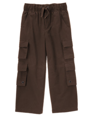 Boys Dark Brown Double Cargo Pocket Lined Active Pant by Gymboree