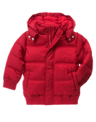 Alpine Red Hooded Puffer Jacket by Gymboree