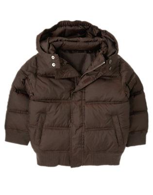 Dark Brown Hooded Puffer Jacket by Gymboree