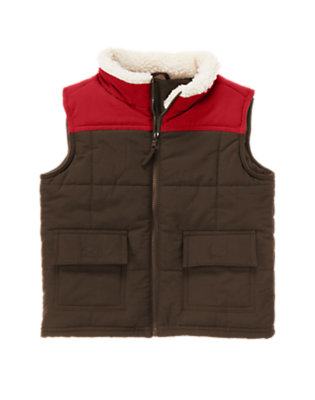 Boys Dark Brown Sherpa Collar Colorblock Vest by Gymboree