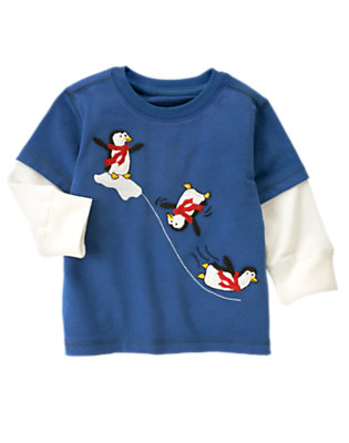 Royal Blue Penguins Double Sleeve Tee by Gymboree