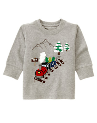 Toddler Boys Heather Grey Train Tee by Gymboree