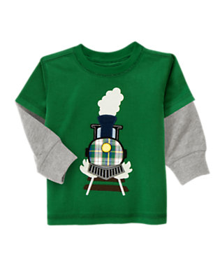 Ivy Green Train Double Sleeve Tee by Gymboree