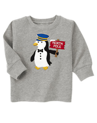 Heather Grey North Pole Penguin Tee by Gymboree