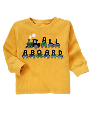 Toddler Boys Mustard Yellow All Aboard Tee by Gymboree