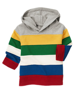 Toddler Boys Heather Grey Hooded Stripe Rugby Shirt by Gymboree