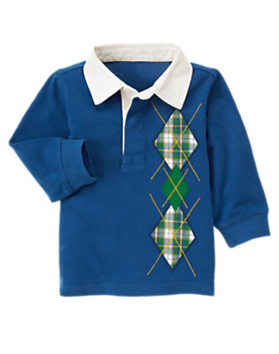 Royal Blue Plaid Argyle Rugby Shirt by Gymboree