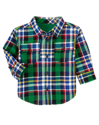 Toddler Boys Black Plaid Plaid Flannel Shacket by Gymboree
