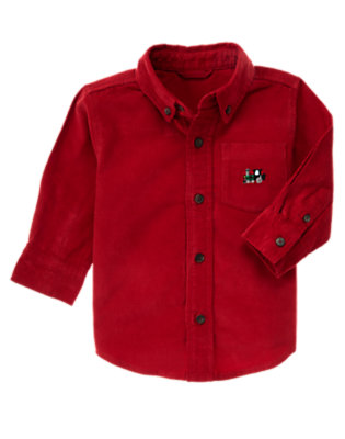 Caboose Red Train Corduroy Shirt by Gymboree